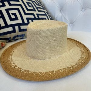 Janessa Leone two toned straw boating hat